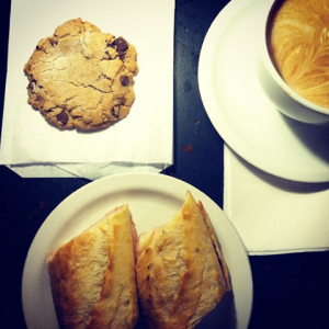 A Chocolate Chip Cookie, Mocha and Sandwich from  Atticus. Photo Courtesy of Jake Sheets